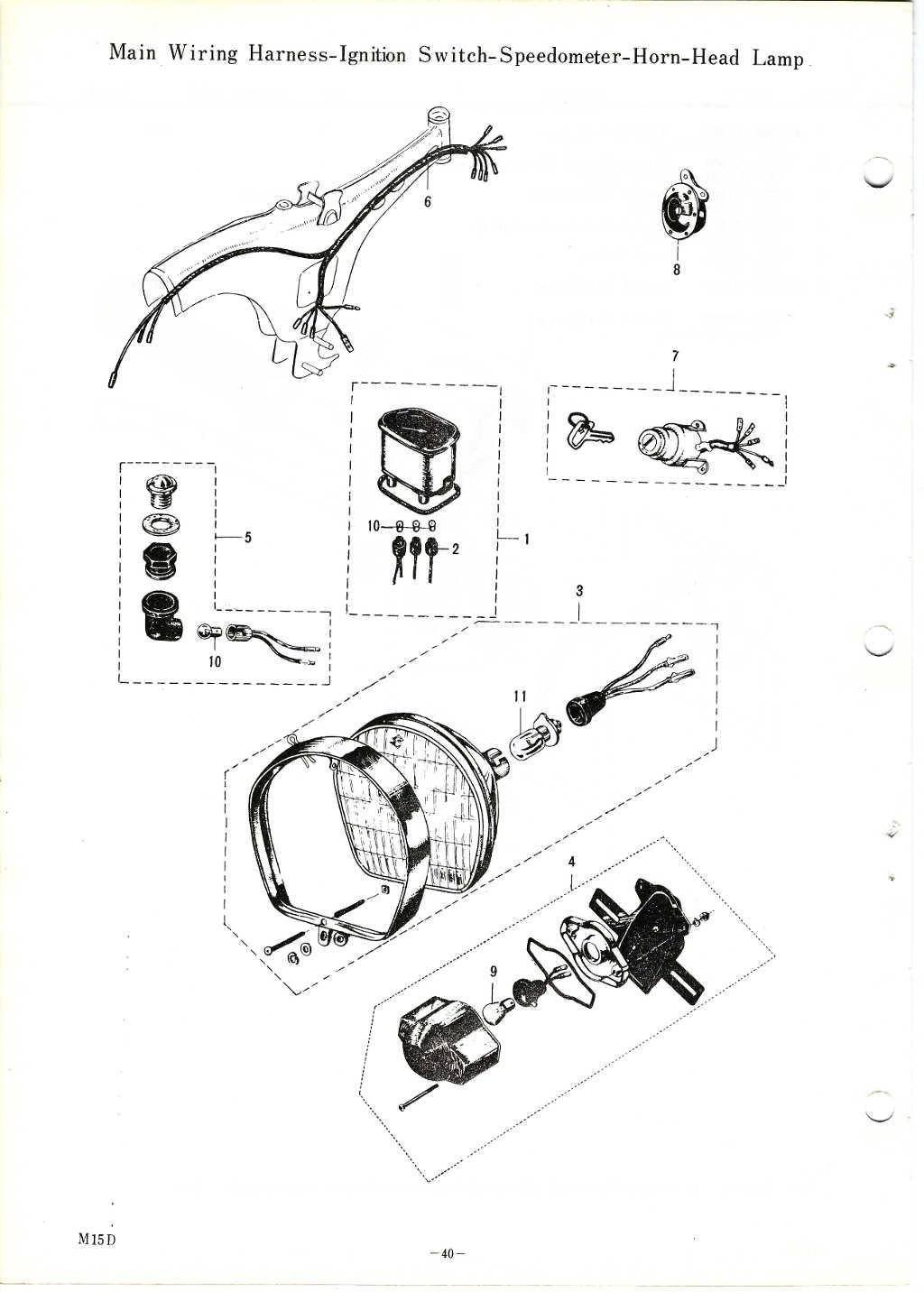 m15 m15d m12 parts manualMain Wiring Harnessignition Switchspeedometerhornhead Lamp Diagram #8