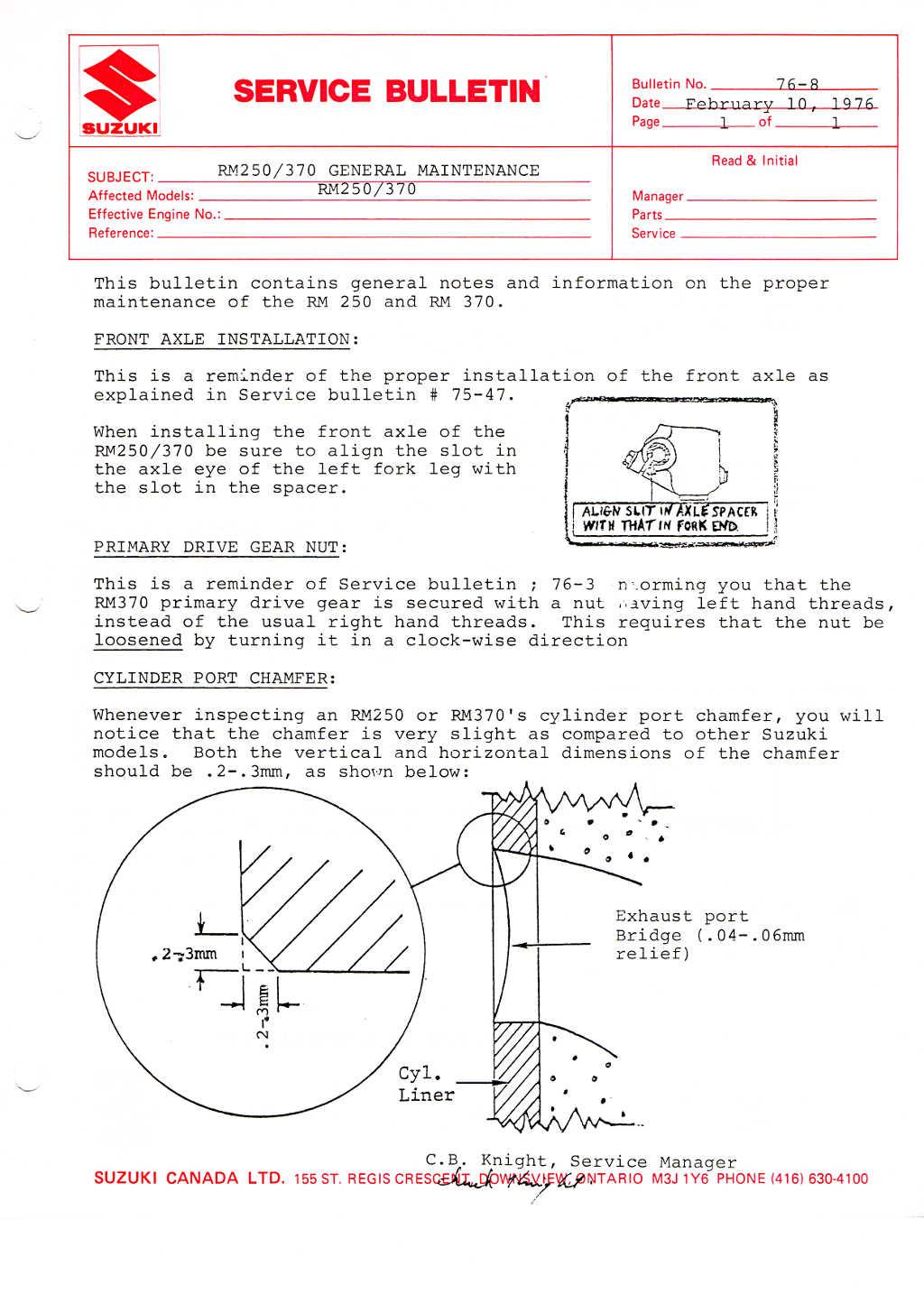 Suzuki Service Bulletins Rm 250 Engine Diagram 76 8 Rm250 370 Maintenance